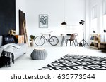 open plan  white studio flat... | Shutterstock . vector #635773544