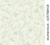 floral background outlined.... | Shutterstock .eps vector #635788418