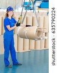industrial woman worker moving... | Shutterstock . vector #635790224