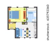 apartment floor plan with... | Shutterstock . vector #635792360