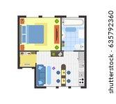 apartment floor plan with...   Shutterstock . vector #635792360