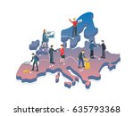 people on the europe map 3d.... | Shutterstock . vector #635793368