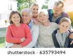 portrait of intergenerational... | Shutterstock . vector #635793494