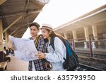 two asian tourists with... | Shutterstock . vector #635793950