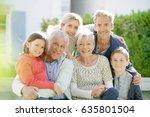 portrait of intergenerational... | Shutterstock . vector #635801504
