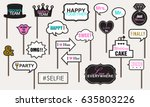 photo booth props weddings... | Shutterstock .eps vector #635803226