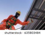 builder worker in safety... | Shutterstock . vector #635803484