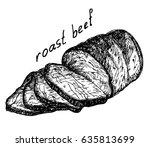 roast beef. vector illustration ... | Shutterstock .eps vector #635813699