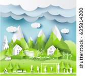 green eco city and life paper... | Shutterstock .eps vector #635814200