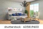 interior living room. 3d... | Shutterstock . vector #635819603