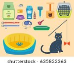 Stock vector colorful cat accessory cute vector animal icons pet equipment food domestic feline illustration 635822363