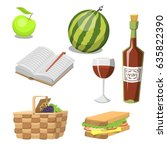 picnic basket with food ... | Shutterstock .eps vector #635822390