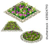 set of flowers to create garden ...   Shutterstock .eps vector #635824793