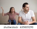 young unhappy family couple... | Shutterstock . vector #635835290