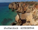 rocky beach  lagos  portugal....   Shutterstock . vector #635838944