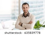 smiling happy young businessman ... | Shutterstock . vector #635839778