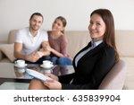 portrait of smiling female... | Shutterstock . vector #635839904