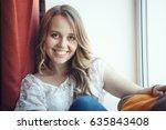 closeup portrait of beautiful... | Shutterstock . vector #635843408
