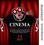 vector movie time poster with... | Shutterstock .eps vector #635844938