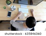 the asian woman working with... | Shutterstock . vector #635846360