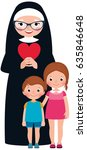 senior nun and children girl... | Shutterstock .eps vector #635846648
