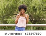 portrait of  a happy young... | Shutterstock . vector #635847890