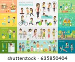 healthy lifestyle infographic... | Shutterstock .eps vector #635850404