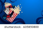 set of popcorn  3d glasses ... | Shutterstock .eps vector #635850800