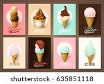 set of brochures with ice cream.... | Shutterstock .eps vector #635851118
