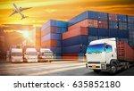 industrial container cargo... | Shutterstock . vector #635852180