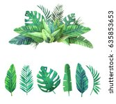 Stock vector bright set of tropical leaves 635853653