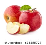 apples with slices on a white... | Shutterstock . vector #635855729