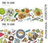 food banners. linear graphic.... | Shutterstock .eps vector #635857079