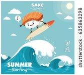 vintage sushi poster design... | Shutterstock .eps vector #635863298