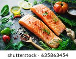fresh salmon fillet with... | Shutterstock . vector #635863454