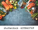 Assortment of fresh fish with...