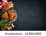grilled t bone steaks with... | Shutterstock . vector #635863880