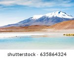 Small photo of High-altitude lagoon and volcano on the plateau Altiplano, Bolivia