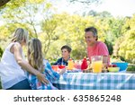 happy family interacting with... | Shutterstock . vector #635865248