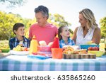 happy family interacting with... | Shutterstock . vector #635865260