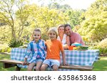 portrait of happy family... | Shutterstock . vector #635865368