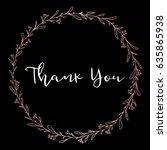 hand drawn flower leaf wreath.... | Shutterstock .eps vector #635865938