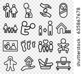 family icons set. set of 16... | Shutterstock .eps vector #635867678