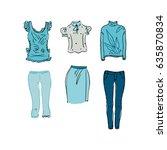 blouse  pants and skirt... | Shutterstock .eps vector #635870834