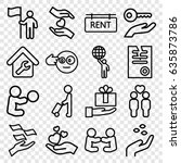 holding icons set. set of 16... | Shutterstock .eps vector #635873786