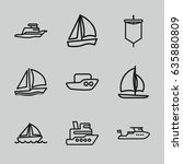 Sail Icons Set. Set Of 9 Sail...
