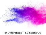 Small photo of abstract powder splatted background. Colorful powder explosion on white background. Colored cloud. Colorful dust explode. Paint Holi.