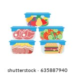 plastic containers with food... | Shutterstock .eps vector #635887940