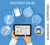treatment online concept with... | Shutterstock .eps vector #635892860