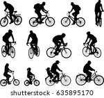 bicyclists silhouettes... | Shutterstock .eps vector #635895170